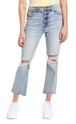DAZE Shy Girl Ripped High Waist Crop Flare Jeans