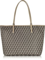 Lancaster Paris Ikon Brown & Nude Coated Canvas and Leather Tote Bag