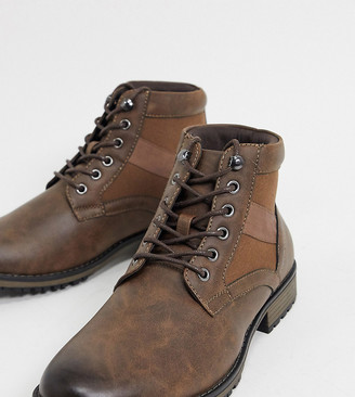 ASOS DESIGN Wide Fit lace up boot in brown faux leather