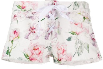 Laneus Rose Print Shorts