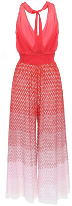 Missoni Mare Shirred Degrade Crochet-knit And Crepe De Chine Jumpsuit