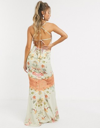 Hope & Ivy maxi cami dress with open back in floral