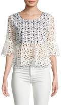 Anna Sui Women's Cotton Gingham and Daisies Crop Top