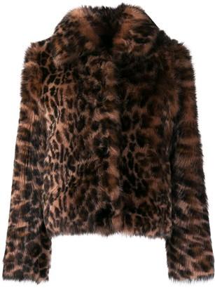 Yves Salomon Leopard Print Fur Jacket