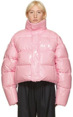 Balenciaga Pink Shiny Cropped Puffer Jacket