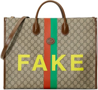 Gucci 'Fake/Not' print large tote bag