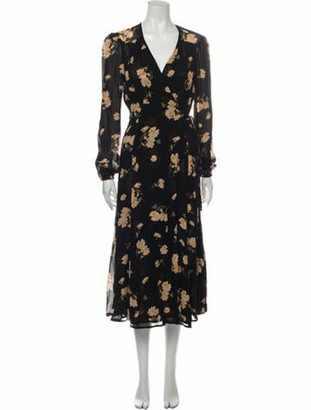 Reformation Floral Print Long Dress Black
