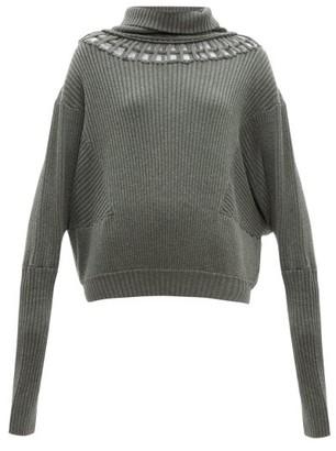 Palmer Harding Palmer//harding - Cut-out Wool-blend Sweater - Khaki
