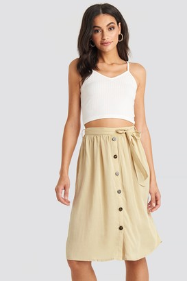 NA-KD Midi Button Front Skirt Beige
