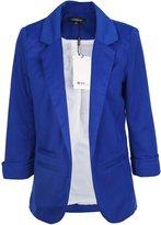 HaoDuoYi Womens Casual Work Office Boyfriend Open Front Blazer Jacket