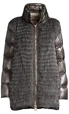 Herno Women's Quilted Fox Fur Front Down Removable Sleeve Puffer Jacket