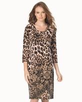 Soma Intimates 3/4 Sleeve Sleepshirt Lovely Leopard Tan Border
