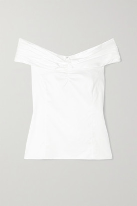 Jason Wu Collection Off-the-shoulder Ruched Cotton-poplin Top - White