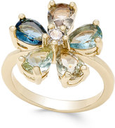 Charter Club Gold-Tone Multi-Crystal Flower Ring, Only at Macy's