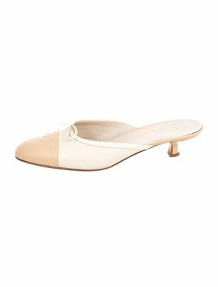 Chanel Leather Round-Toe Mules Tan