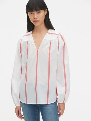 Gap Long Sleeve Stripe V-Neck Blouse