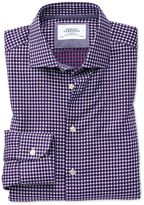 Charles Tyrwhitt Extra Slim Fit Semi-Cutaway Business Casual Non-Iron Modern Textures Blue and Pink Cotton Dress Casual Shirt Single Cuff Size 14.5/32