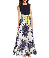 Jessica Howard Cap Sleeve Floral Pleated Maxi Dress