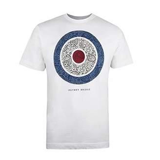 Putney Bridge Men's Paisley Target T-Shirt, White, Small (Size:Small)
