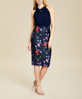 Ted Baker Women's Casual Dresses DK-BLUE - Dark Blue Floral Pleated Shimma Halter Dress - Women