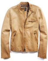 Todd Snyder Leather Racer Jacket in Chamois