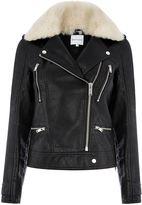 Warehouse Fur Collar Faux Leather Biker