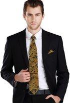 Landisun 90T Paisley Mens Silk Tie Set: Tie+Hanky+Cufflinks Orange