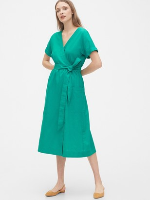 Gap Short Sleeve Wrap-Front Dress in Linen-Cotton