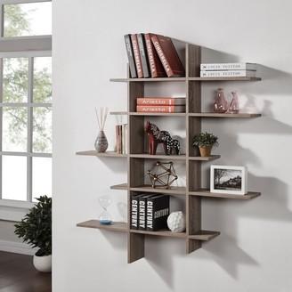 Danya B Five Level Asymmetric Shelf - Weathered Oak