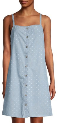 Vero Moda Mascha Dot-Print Cotton Chambray Dress