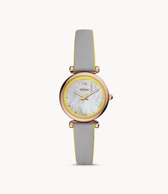 Fossil Carlie Mini Three-Hand Gray Leather Watch jewelry