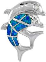 Sabrina Silver Sterling Silver Double Dolphin Pendant Synthetic Opal Inlay & CZ stones, 1 3/16 inch Tall