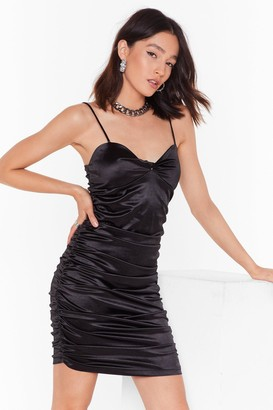 Nasty Gal Womens Late Night Ruche Satin Mini Dress - Black