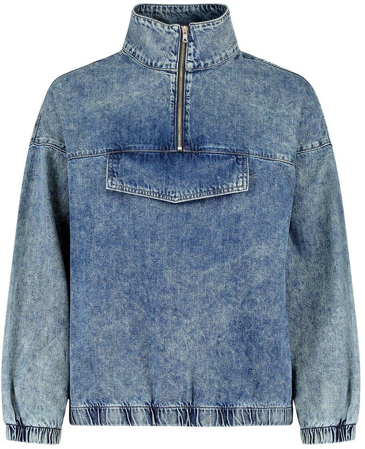 Thumbnail for your product : boohoo Zip Front Denim Pullover Jacket