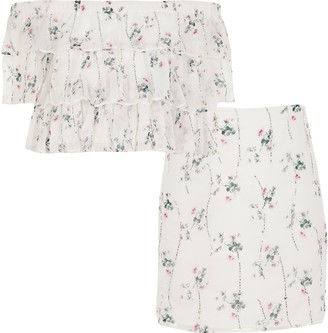 River Island Girls Cream floral embellished bardot outfit