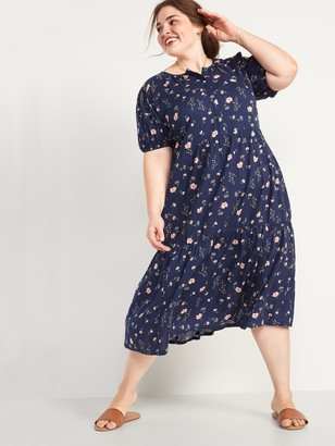 Old Navy Tiered Floral-Print No-Peek Plus-Size Midi Dress