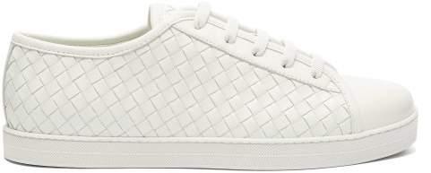 Bottega Veneta Intrecciato Low Top Leather Trainers - Womens - White