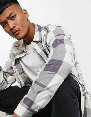 Asos DESIGN 90s oversized shirt in large scale stone check