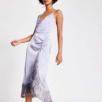 River Island Purple fringe wrap satin slip dress