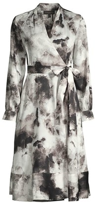 Donna Karan Cloud-Print Flare Shirtdress