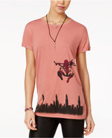Marvel Juniors' Spider-Man Skyline Graphic Tunic T-Shirt