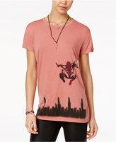 Marvel Juniors' Spider-Man Skyline Graphic Tunic T-Shirt