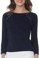 Chaps Petite Solid Lace-Up Jersey Tee