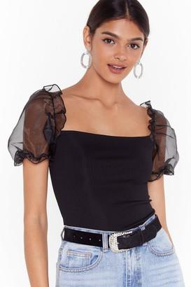 Nasty Gal Womens No Meshin' Organza Puff Sleeve Top - Black - 14