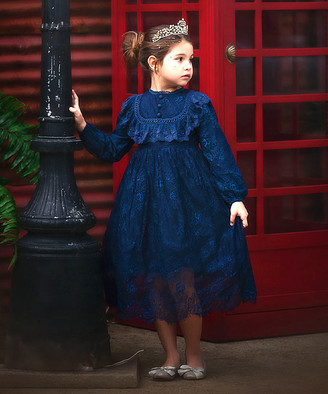 Scully Trish Girls' Special Occasion Dresses NAVY - Navy Ruffle High-Neck Sydney A-Line Dress - Infant, Toddler & Girls