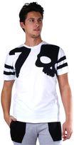 Hydrogen Man White T-shirt With Black Skull