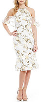 Gianni Bini Lynn Halter Neck Cold-Shoulder Floral Midi Dress