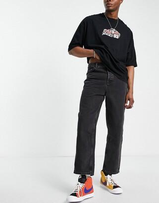 ASOS DESIGN barrel jeans in washed black