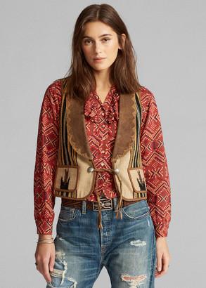 Ralph Lauren Hand-Woven Leather-Collar Vest