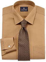 STAFFORD Stafford Travel Long-Sleeve Easy-Care Dress Shirt and Tie Set